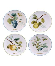 Love this The Green House Fruit Dessert Plate - Set of Four on #zulily! #zulilyfinds
