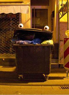 funny eyebombing trash bin