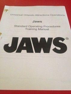 Rare JAWS RIDE Training Manual - 88 Pages - Universal Studios Florida Shark Prop (02/04/2014)