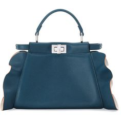 Fendi Peekaboo Mini Wave Leather Satchel Bag (3'410 CHF) ❤ liked on Polyvore featuring bags, handbags, teal, leather man bags, satchel purses, fendi handbags, satchel handbags and leather hand bags