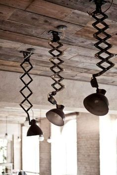 industrial—unusual pendant lighting and reclaimed wood ceiling. Again another extendible and flexible light design. Vintage Industrial Lighting, Industrial Interiors, Industrial House, Rustic Industrial, Industrial Design, Industrial Furniture, Home Lighting, Lighting Design, Pendant Lighting