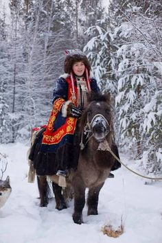 A Yakutian woman on horseback.