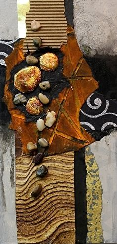 "Rustic, 041317 by Carol Nelson mixed media ~ 12 inches x 6 inches-Mixed Media Abstract Collage Painting, ""Rustic"" © Carol Nelson Fine Art"