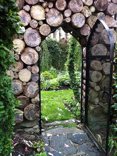 log garden wall and gate
