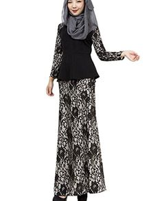 Aro Lora Womens Islamic Muslim Dress Lace 2 Pieces Maxi Dress Suits Medium Black >>> Click image to review more details.