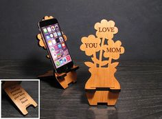Wooden Flower Phone Stand with Personal Message On Back - Personalized Mothers Day Gift For Mom -Phone Dock - Fits all iPhone and Galaxy