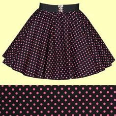 Childrens Black with Pink Polkadot Full Circle Skirt
