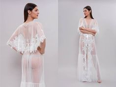 Long Tulle Bridal Robe with Lace F20 Lace-trimmed Tulle