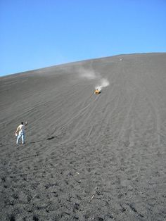 Near Leon, you can take a tour up to the top of a very active volcano called Cerro Negro and fly as fast as 80 km/h down on a piece of wood. Rated #2 on the Thrill Seeker's Bucket List. Don't miss this if you are in Nicaragua!