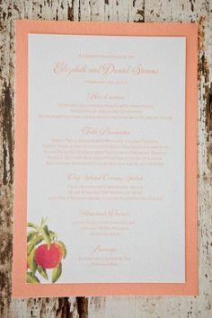Peach Wedding Menu
