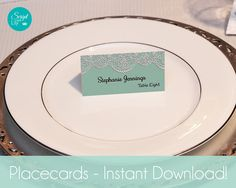 """Lace Guest Name Place Cards Template 