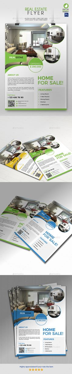 Real Estate Flyer 01 by Ahmadgfx This Clean and professional Real Estate flyer can helppromote you business, easy to use Features03 PSD file included A4 sizes Ble