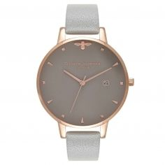 Olivia Burton London: Queen Bee Grey & Rose Gold watch