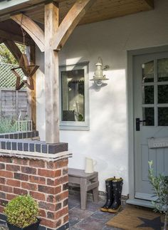 small garden common ground : New House Journal: Timber Frame Front Porch House With Porch, House Front, Front Door Porch, Porch Uk, Cottage Porch, Front Door Decor, Building A Porch, Back Doors, Ideal Home