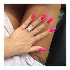 Bright pink coffin ballerina nails