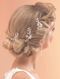 Set of 3 Hand Wired Pearl & Crystal Hairpins by Arianna Tiaras