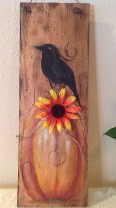 Wood fall sign on up cycled shingle. Hand painted pumpkin and crow spattered in black and distressed. Hangs from wire hanger. Crow Painting, Tole Painting, Painting On Wood, Summer Painting, Autumn Painting, Fall Paintings, Autumn Crafts, Holiday Crafts, Halloween Painting