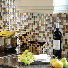 """wow... wish I would have known. 3D gel-like tiles that are peel and stick for an easy back splash. Easy to clean and tons of colors and options! $10.99 for a sheet 9.875"""" in."""
