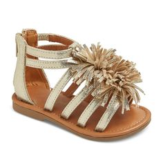 Toddler Girls' Peggy Gladiator Sandals With Large Fringe Poufs Cat & Jack - Gold 12, Toddler Girl's