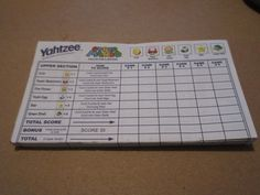 Super Mario Collector's Edition Yahtzee  score pad Replacement Tally Sheets