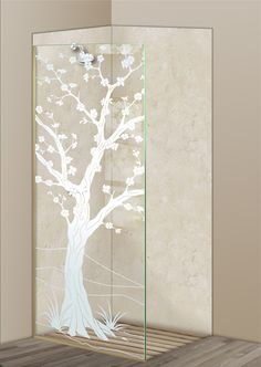 Shower Divider Panel featuring the Cherry Blossom III design in the 1D Positive Clear effect by Sans Soucie Art Glass. Design elements are sandblast etched on the top surface of smooth, clear glass, and are solid white shapes.  This effect is considered semi-private, as the clear glass background area of the glass, will vary by design.