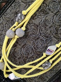 Upcycled Yellow Tshirt Necklace with Grey and by TheHoneyHoleShop, $20.00