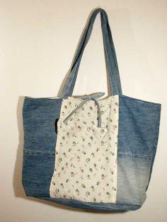 Upcycled denim bag. Handmade in Italy from cotton di caryhandmade su Etsy