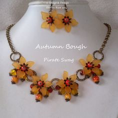 Lucite Autumn Bough necklace & earring set OOAK. by PirateSwag, £10.00