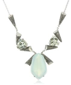 "Judith Jack ""Mint"" Sterling Silver, Marcasite, Chalcedony and Green Amethyst Necklace"