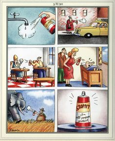 The Far Side by Gary Larson. - We could all use some of that spray. Far Side Cartoons, Far Side Comics, Funny Cartoons, Funny Comics, Gary Larson Comics, Gary Larson Cartoons, Wtf Funny, Funny Memes, Hilarious