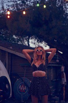Hailey Clauson in the @Debbie Arruda Arruda Arruda Arruda Fortner Love & Lemons Austin Top & Skirt