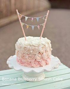 banana blueberry smash cake recipe first birthday cake thebakingpan com - The world's most private search engine Smash Cake Girl, Girl Cakes, Food Cakes, Cupcake Cakes, Cake Smash Cakes, Cupcakes, Girls First Birthday Cake, Cake Birthday, Birthday Ideas