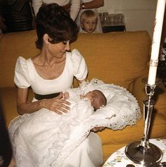 Signora Audrey Hepburn Dotti photographed by Pierluigi Praturlon at her apartment in Rome (Italy), during the christening of her second son Luca, in April 1970.