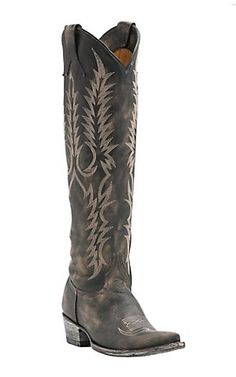Old Gringo Women's Myra Distressed Black Tall Snip Toe Western   Boots | Cavender's // i approve of the TALLness