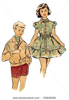 1960's illustration of kids/teens
