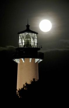 Lighthouse and Full Moon via aday-inthe-life   /  Tumblr