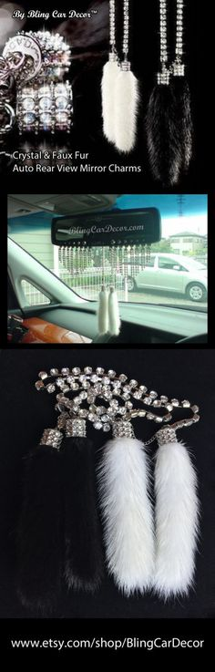 Crystal & Faux Fur AUTO REARVIEW MIRROR CHARMS... By Bling Car Decor™   Dress up your vehicle interior with sparkling crystal and faux fur rear view mirror charms. Beautifully handmade with two soft faux fur charms hanging on a sparkling rhinestone crystal chain, these bling car accessory ornaments are a great way to add a touch of class and bling to any vehicle...  www.etsy.com/shop/BlingCarDecor