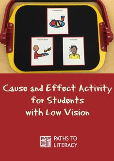 This cause and effect activity for students with low vision uses Boardmaker cards and the APH All-in-One Board.