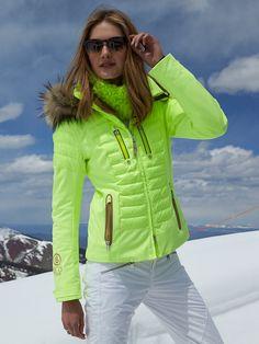 BOGNER Women Designer Ski Wear | Glowing Green 'Nica-dtp' Jacket with Fur