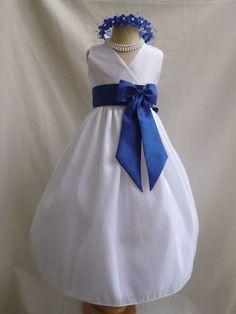 White Royal Blue Wedding Easter Gown Flower Girl Dress 1 2 4 6 8 10 12 14   eBay