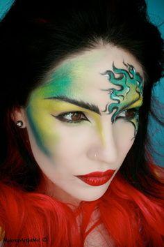 makeup -- Make-up Artist Me!: Viper - Artistic Makeup Look- I used TheBodyNeeds: Beyond Teal, Juniper, Shamrock, Envy, Lemon Drop, Steal the Night, and Red glitter on my lips.
