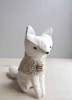 winsome fox / soft sculpture animal // ohalbatross on etsy