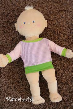 Puppenoberteile, Pullover fuer Puppe nähen I Schnittmuster I 43cm Kruemel Puppe