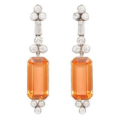 Art Deco Topaz Diamond Earrings | From a unique collection of vintage drop earrings at https://www.1stdibs.com/jewelry/earrings/drop-earrings/