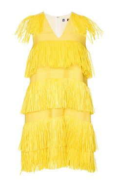 Yellow Fringe V-Neck Dress by MSGM Now Available on Moda Operandi