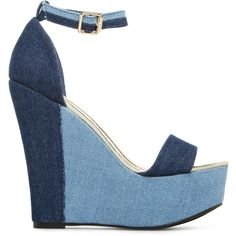 ShoeDazzle Wedge Myonna Womens Blue found on Polyvore featuring shoes, blue, wedges, chunky wedge shoes, ankle tie shoes, wedges shoes, blue shoes and chunky shoes