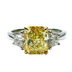 2.01ct Fancy Yellow Radiant Ring With Traps | From a unique collection of vintage engagement rings at http://www.1stdibs.com/jewelry/rings/engagement-rings/