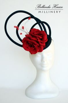 Navy/Red Cocktail Hat by BELLINDA HAASE #HatAcademy #Millinery