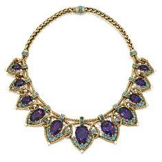18 Karat Gold, Platinum, Amethyst, Turquoise and Diamond Necklace, Cartier, New York, 1949 - Sothebys