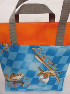 Disney Planes Kids Tote, Library Bag, Planes Book Bag, Orange and Blue Tote Bag